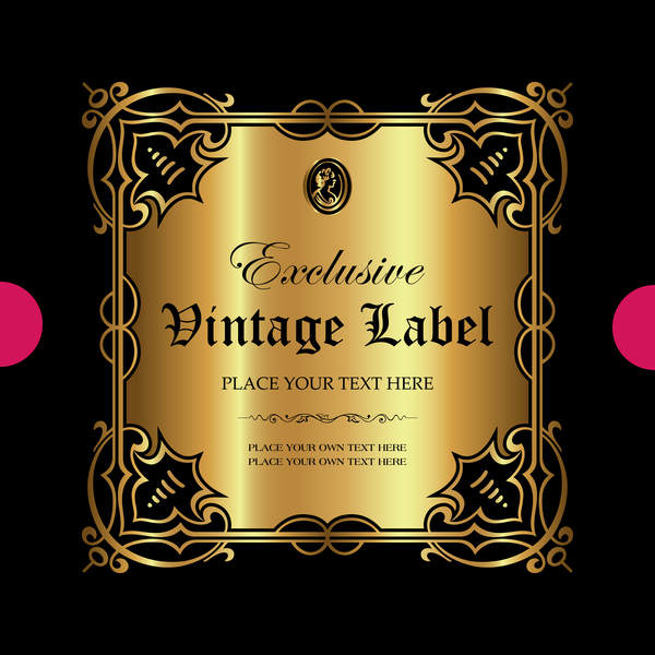 Luxury ornamental gold label vector set 07