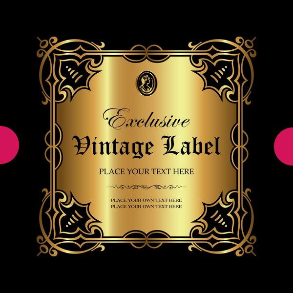 Luxury ornamental gold label vector set 07