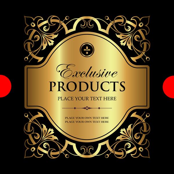 Luxury ornamental gold label vector set 09