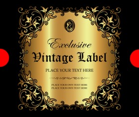 Luxury ornamental gold label vector set 10