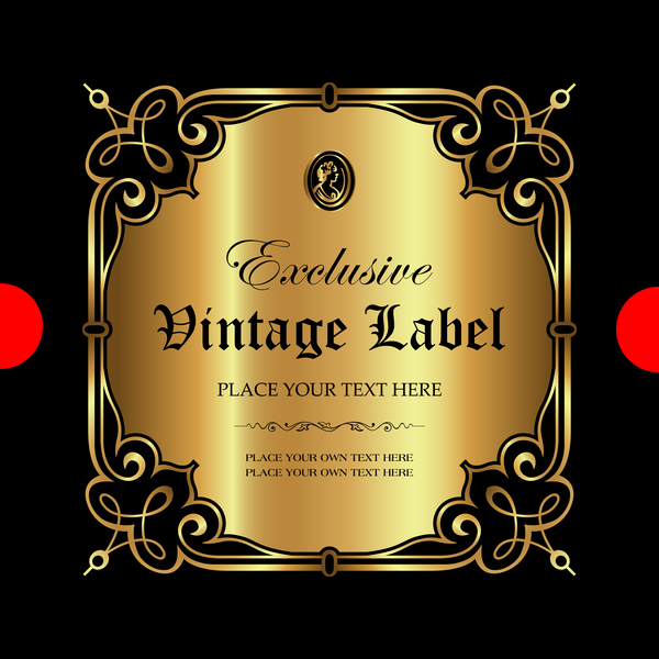 Luxury ornamental gold label vector set 11