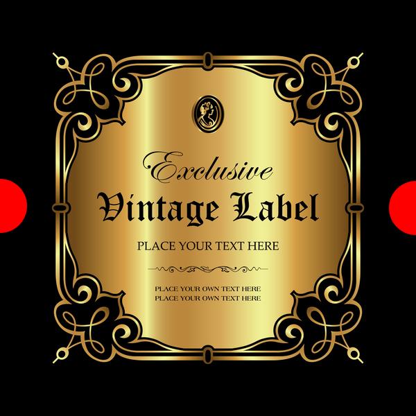 Luxury ornamental gold label vector set 11