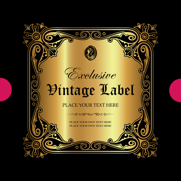 Luxury ornamental gold label vector set 12