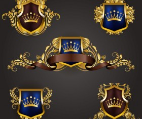 Luxury shield label with heraldic vector 01