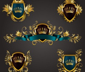 Luxury shield label with heraldic vector 02