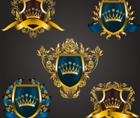 Luxury shield label with heraldic vector 03