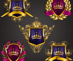 Luxury shield label with heraldic vector 04