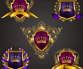 Luxury shield label with heraldic vector 05