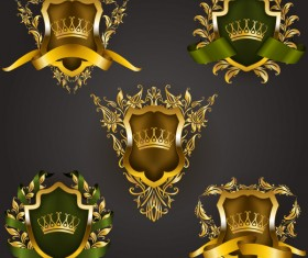 Luxury shield label with heraldic vector 06