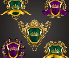 Luxury shield label with heraldic vector 07