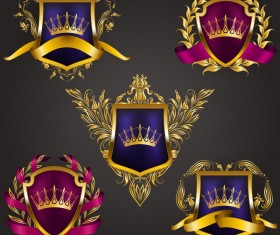 Luxury shield label with heraldic vector 09