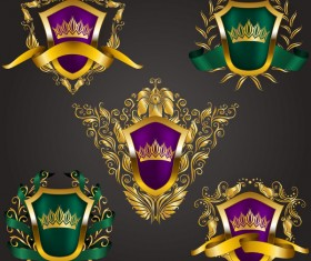 Luxury shield label with heraldic vector 10