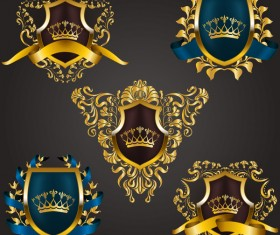 Luxury shield label with heraldic vector 11