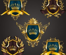 Luxury shield label with heraldic vector 12