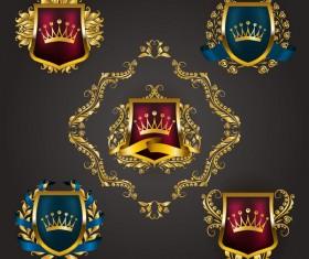 Luxury shield label with heraldic vector 13