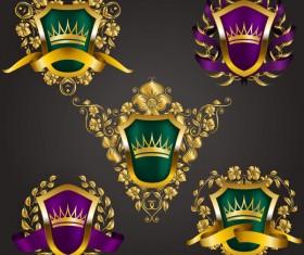 Luxury shield label with heraldic vector 14