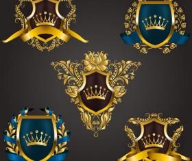 Luxury shield label with heraldic vector 15
