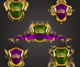 Luxury shield label with heraldic vector 16