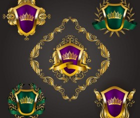 Luxury shield label with heraldic vector 17