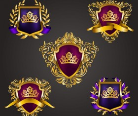 Luxury shield label with heraldic vector 18