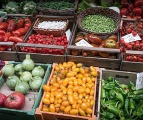 Market Fresh Vegetable Stall Stock Photo