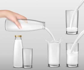 Milk with glass cup vector