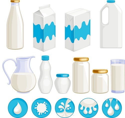 Milk with package box and bottle vector