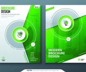 Modern brochure cover green template vector