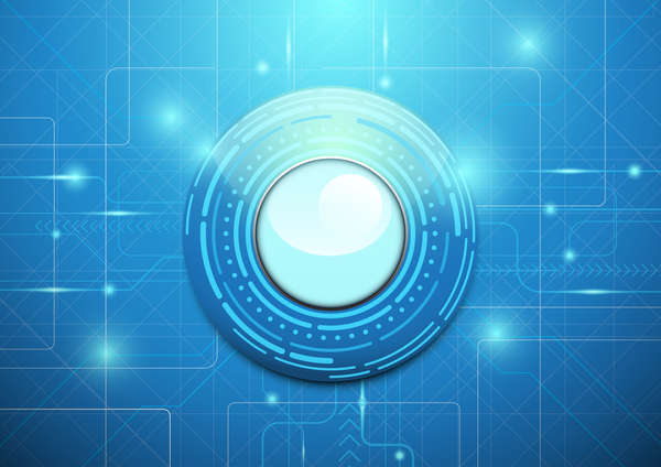 Modern circle geometric technology blue background vector