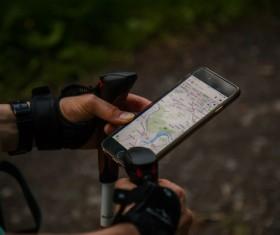 Navigation program on smartphone Stock Photo