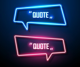 Neon text frames vector material 05