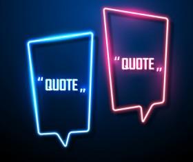 Neon text frames vector material 06