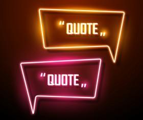 Neon text frames vector material 10