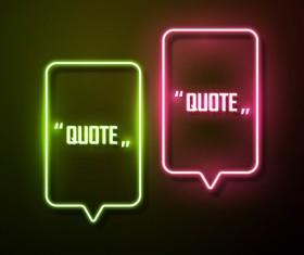 Neon text frames vector material 14
