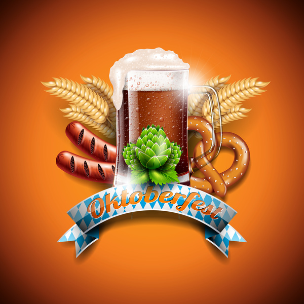 Oktoberfast label with orange background vector