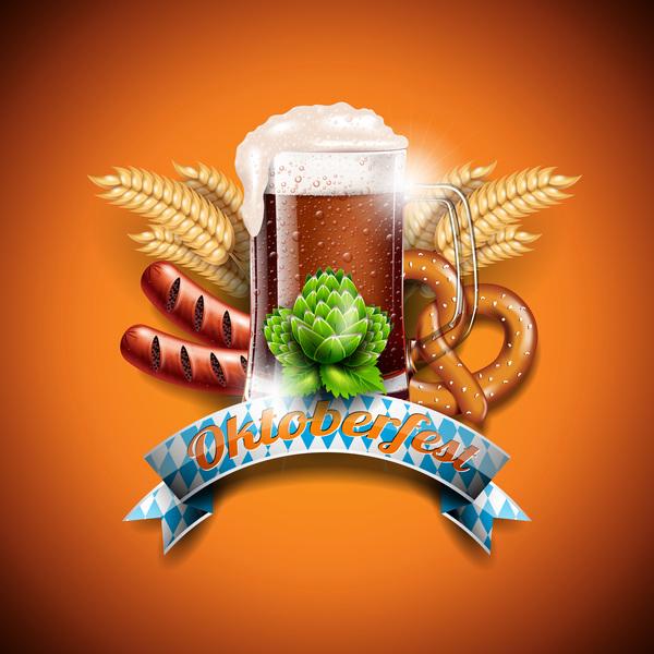 Oktoberfast label with orange background vector