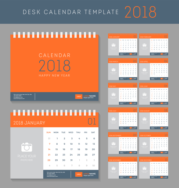Orange red disk calendar 2018 templates vector