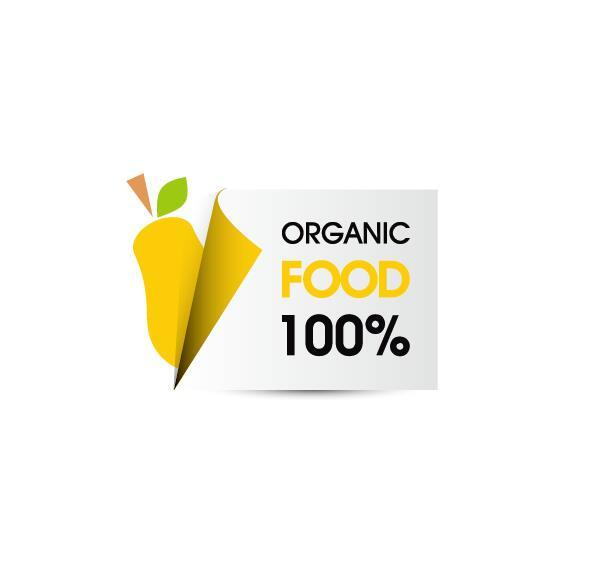Organic food sticker design vector 01