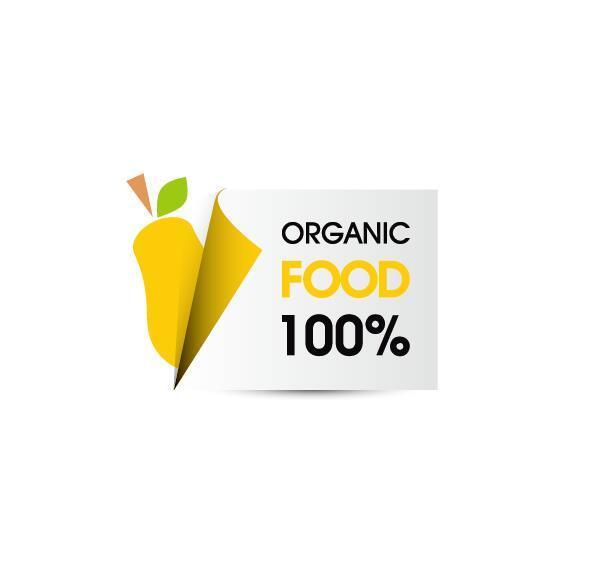 Organic food sticker design vector 01