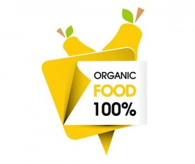 Organic food sticker design vector 02