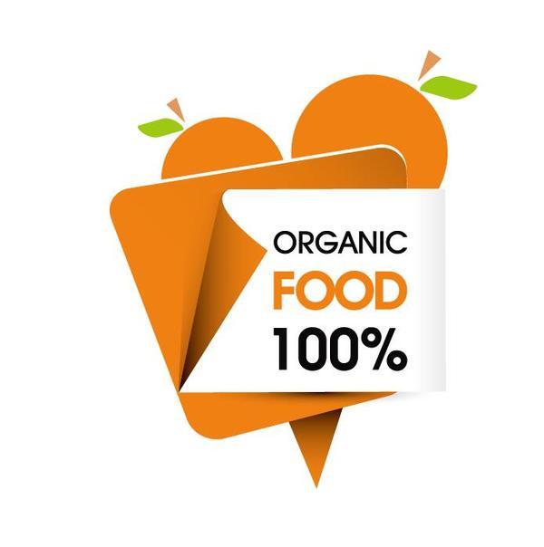 Organic food sticker design vector 03