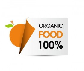 Organic food sticker design vector 04