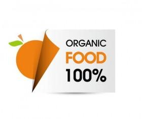 Organic food sticker design vector 04