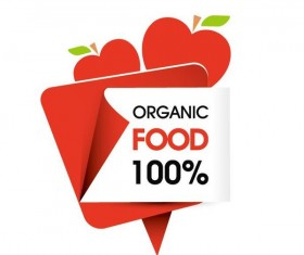 Organic food sticker design vector 05