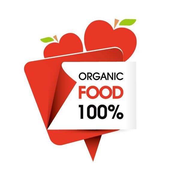 Organic food sticker design vector 05