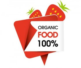 Organic food sticker design vector 06