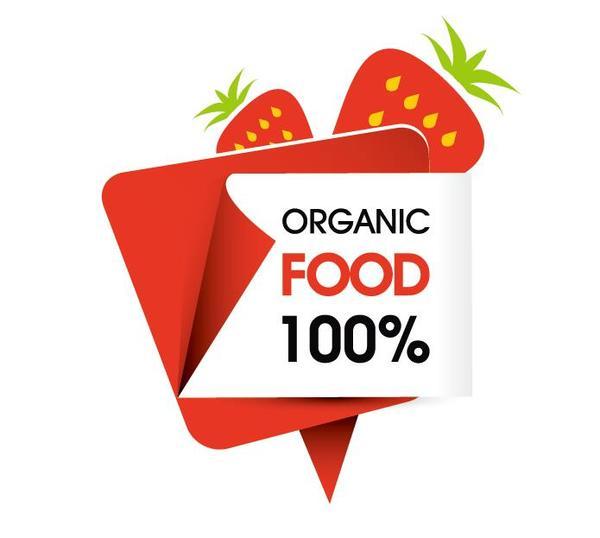 Organic food sticker design vector 06