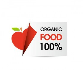 Organic food sticker design vector 07