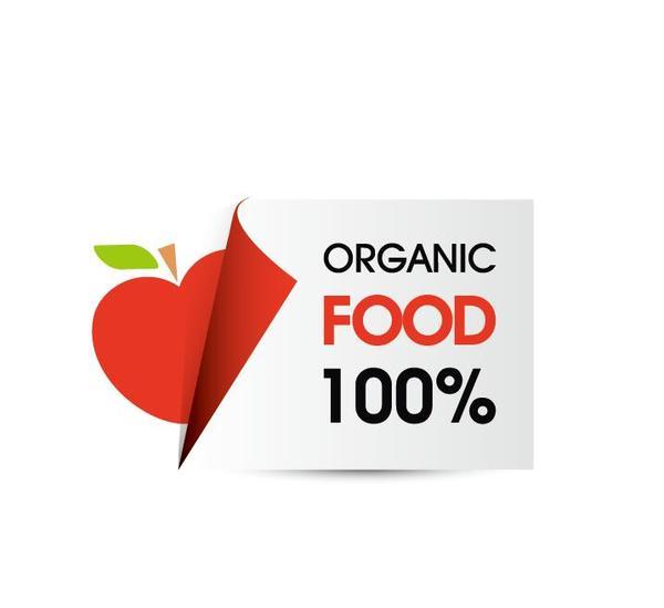 Organic food sticker design vector 07