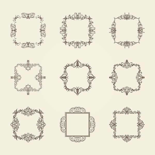 Ornament frame retro vector material